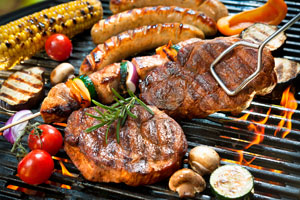 Assortment of grilled food